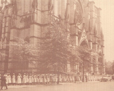 St. Luke's Hospital School of Nursing Students en route to graduation at the Cathedral of St. John the Divine.